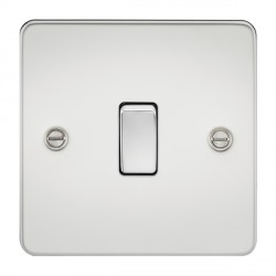 Knightsbridge Flat Plate Polished Chrome 20A 1 Gang DP Switch