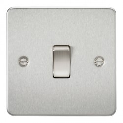 Knightsbridge Flat Plate Brushed Chrome 20A 1 Gang DP Switch