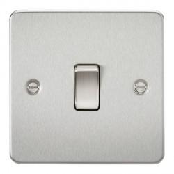 Knightsbridge Flat Plate Brushed Chrome 20A 1 Gang DP Switch
