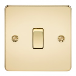 Knightsbridge Flat Plate Polished Brass 20A 1 Gang DP Switch