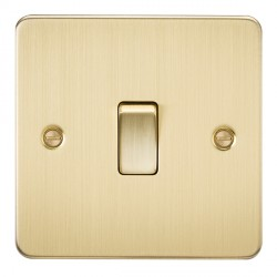 Knightsbridge Flat Plate Brushed Brass 20A 1 Gang DP Switch