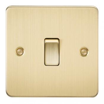 Knightsbridge Flat Plate Brushed Brass 20A 1 Gang DP Switch