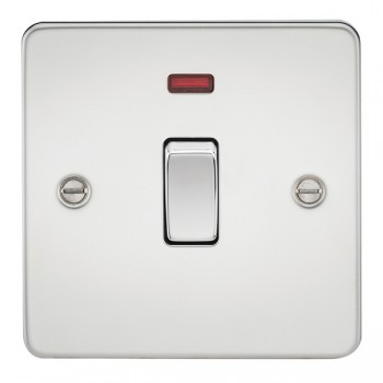 Knightsbridge Flat Plate Polished Chrome 20A 1 Gang DP Switch with Neon