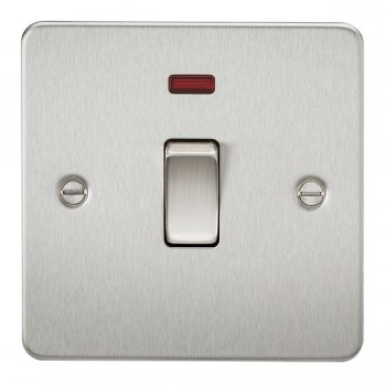 Knightsbridge Flat Plate Brushed Chrome 20A 1 Gang DP Switch with Neon