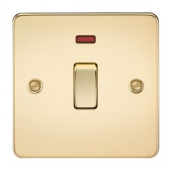 Knightsbridge Flat Plate Polished Brass 20A 1 Gang DP Switch with Neon