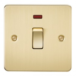 Knightsbridge Flat Plate Brushed Brass 20A 1 Gang DP Switch with Neon