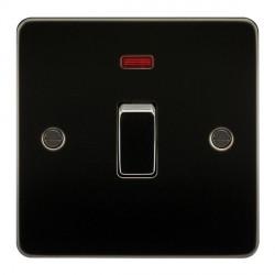 Knightsbridge Flat Plate Gunmetal 20A 1 Gang DP Switch with Neon