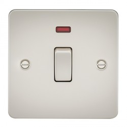 Knightsbridge Flat Plate Pearl 20A 1 Gang DP Switch with Neon