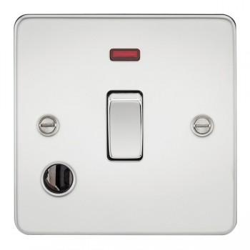 Knightsbridge Flat Plate Polished Chrome 20A 1 Gang DP Switch with Neon and Flex Outlet