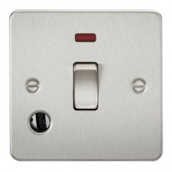 Knightsbridge Flat Plate Brushed Chrome 20A 1 Gang DP Switch with Neon and Flex Outlet