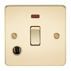Knightsbridge Flat Plate Polished Brass 20A 1 Gang DP Switch with Neon and Flex Outlet