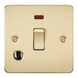Knightsbridge Flat Plate Brushed Brass 20A 1 Gang DP Switch with Neon and Flex Outlet
