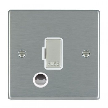 Hamilton Hartland Satin Steel 1 Gang 13A Fuse + Cable Outlet with White Insert