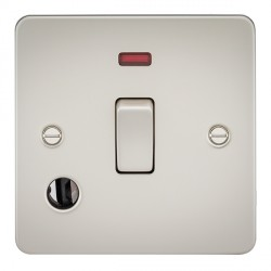 Knightsbridge Flat Plate Pearl 20A 1 Gang DP Switch with Neon and Flex Outlet