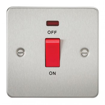 Knightsbridge Flat Plate Brushed Chrome 45A 1 Gang DP Switch with Neon