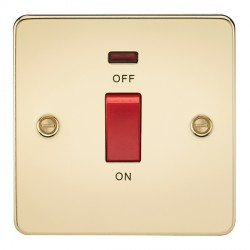 Knightsbridge Flat Plate Polished Brass 45A 1 Gang DP Switch with Neon
