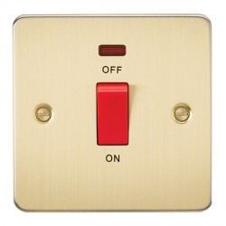 Knightsbridge Flat Plate Brushed Brass 45A 1 Gang DP Switch with Neon