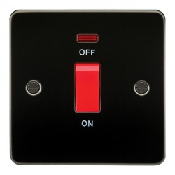 Knightsbridge Flat Plate Gunmetal 45A 1 Gang DP Switch with Neon