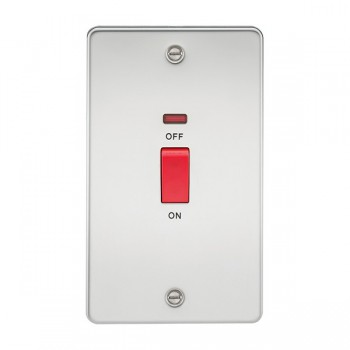 Knightsbridge Flat Plate Polished Chrome 45A 2 Gang DP Switch with Neon