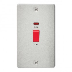 Knightsbridge Flat Plate Brushed Chrome 45A 2 Gang DP Switch with Neon