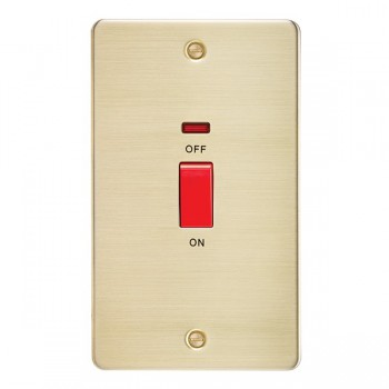 Knightsbridge Flat Plate Brushed Brass 45A 2 Gang DP Switch with Neon