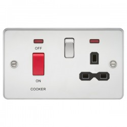 Knightsbridge Flat Plate Polished Chrome DP Switch and 13A DP Switched Socket with Neon - Black Insert