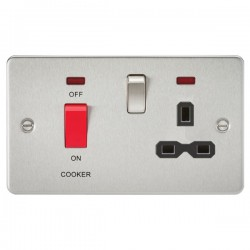 Knightsbridge Flat Plate Brushed Chrome DP Switch and 13A DP Switched Socket with Neon - Black Insert