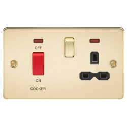 Knightsbridge Flat Plate Polished Brass DP Switch and 13A DP Switched Socket with Neon - Black Insert
