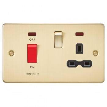 Knightsbridge Flat Plate Brushed Brass DP Switch and 13A DP Switched Socket with Neon - Black Insert