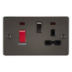 Knightsbridge Flat Plate Gunmetal DP Switch and 13A DP Switched Socket with Neon - Black Insert