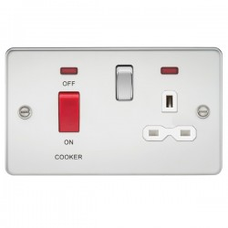 Knightsbridge Flat Plate Polished Chrome DP Switch and 13A DP Switched Socket with Neon - White Insert