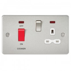 Knightsbridge Flat Plate Brushed Chrome DP Switch and 13A DP Switched Socket with Neon - White Insert