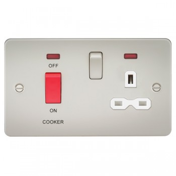 Knightsbridge Flat Plate Pearl DP Switch and 13A DP Switched Socket with Neon - White Insert