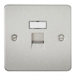 Knightsbridge Flat Plate Brushed Chrome RJ45 IDC Network Outlet