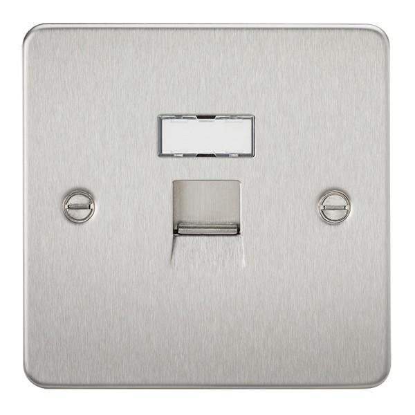 Knightsbridge Flat Plate Brushed Chrome RJ45 IDC Network Outlet at ...