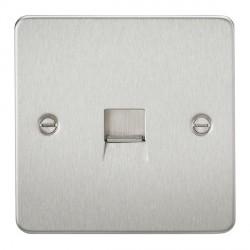 Knightsbridge Flat Plate Brushed Chrome Telephone Extension Socket