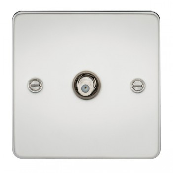 Knightsbridge Flat Plate Polished Chrome 1 Gang Non-Isolated Satellite Outlet