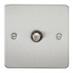 Knightsbridge Flat Plate Brushed Chrome 1 Gang Non-Isolated Satellite Outlet