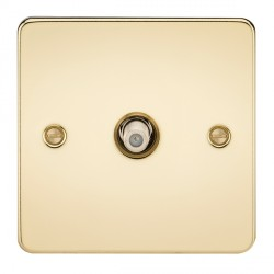 Knightsbridge Flat Plate Polished Brass 1 Gang Non-Isolated Satellite Outlet