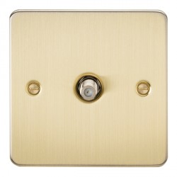 Knightsbridge Flat Plate Brushed Brass 1 Gang Non-Isolated Satellite Outlet