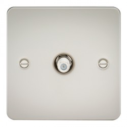 Knightsbridge Flat Plate Pearl 1 Gang Non-Isolated Satellite Outlet