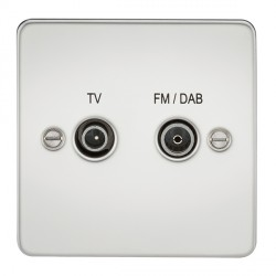 Knightsbridge Flat Plate Polished Chrome 1 Gang TV FM/DAB Screened Diplex Outlet