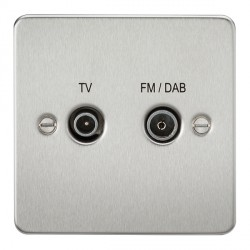Knightsbridge Flat Plate Brushed Chrome 1 Gang TV FM/DAB Screened Diplex Outlet
