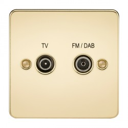 Knightsbridge Flat Plate Polished Brass 1 Gang TV FM/DAB Screened Diplex Outlet