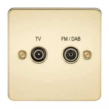 Knightsbridge Flat Plate Polished Brass 1 Gang TV FM/DAB Screened Diplex Outlet