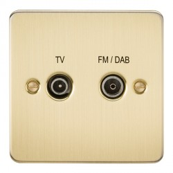 Knightsbridge Flat Plate Brushed Brass 1 Gang TV FM/DAB Screened Diplex Outlet