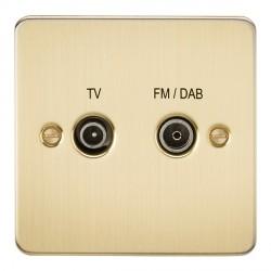Knightsbridge Flat Plate Brushed Brass 1 Gang TV FM/DAB Screened Diplex Outlet