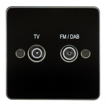 Knightsbridge Flat Plate Gunmetal 1 Gang TV FM/DAB Screened Diplex Outlet
