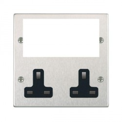 Hamilton Hartland Media Plates Satin Steel Media Plate containing 2 Gang 13A Unswitched Socket + EURO4 aperture with Black Insert