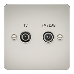 Knightsbridge Flat Plate Pearl 1 Gang TV FM/DAB Screened Diplex Outlet